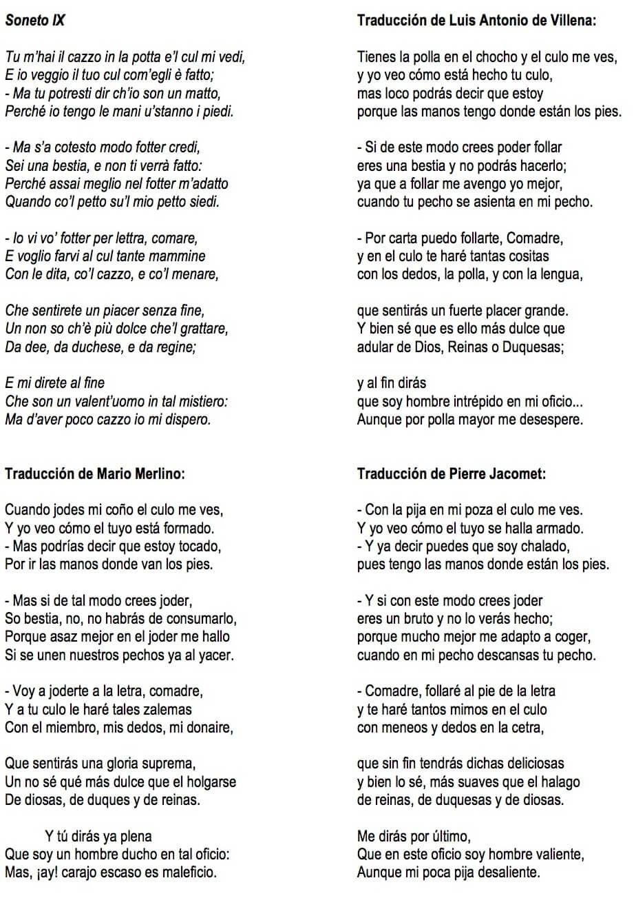 Sonetos de Pietro Aretino